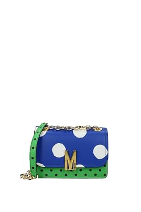 Moschino Shoulder bags Women Leather Green Electric Blue