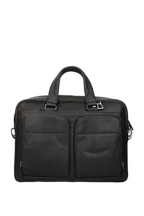 Piquadro Work bags Men Leather Brown Dark Brown