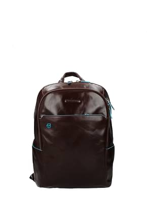 Piquadro Backpack and bumbags Men Leather Brown Mahogany