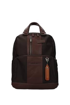 Piquadro Backpack and bumbags Men Fabric  Brown Dark Brown