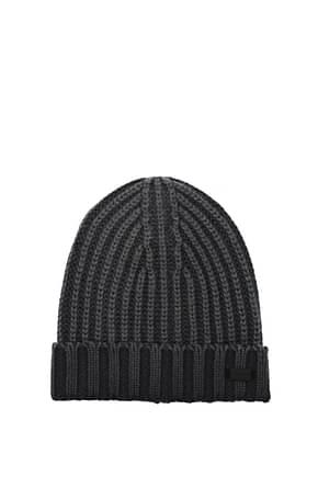 Armani Emporio Hats Men Virgin Wool Gray Grey