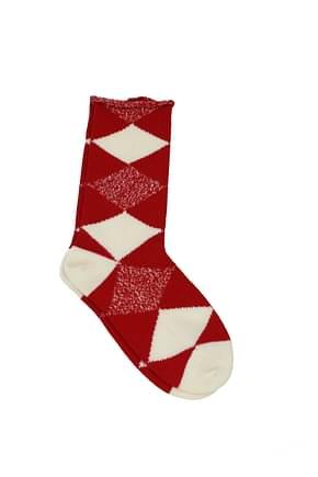 Burberry Socks Men Merino Wool Red