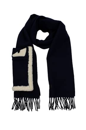 Fendi Scarves Men Wool Blue