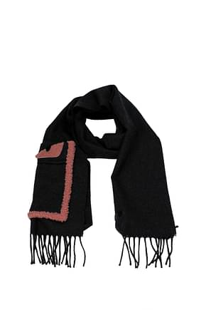 Fendi Scarves Men Wool Gray