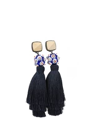 Tory Burch Earrings Women Fabric  Blue