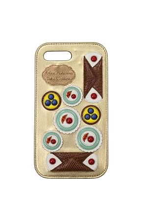 Dolce&Gabbana iPhone cover iphone 7/8 plus Women Leather Gold