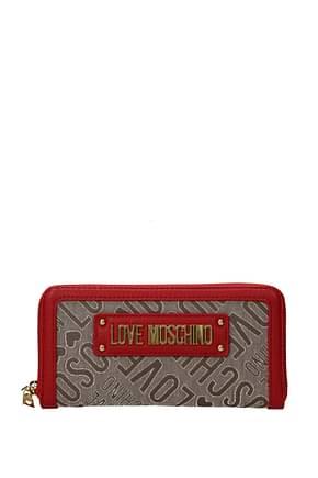 Love Moschino Portefeuilles Femme Tissu Beige Rouge