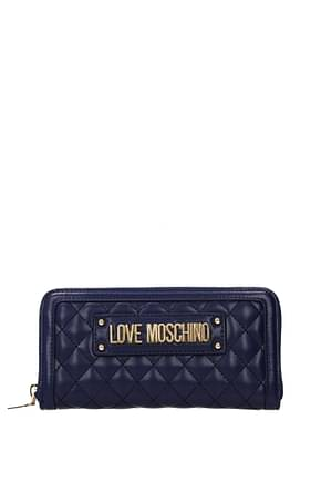 Love Moschino Portefeuilles Femme Polyuréthane Bleu