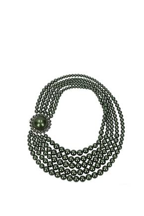 Miu Miu Necklaces Women Brass Green