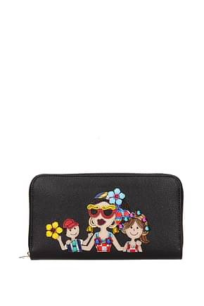 "Dolce&Gabbana Wallets "" patch d&g family ""  Women Leather Black"