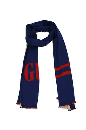 Gucci Scarves Men Wool Blue Red