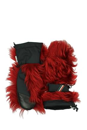 Moncler Gloves Women Fur  Red