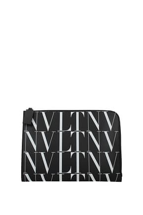 Valentino Garavani Clutches Men Leather Black White