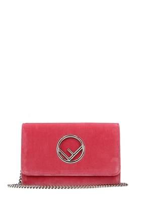 Fendi Wallets Women Velvet Pink