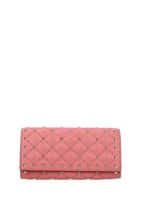 Valentino Garavani Wallets Women Leather Pink Carnation