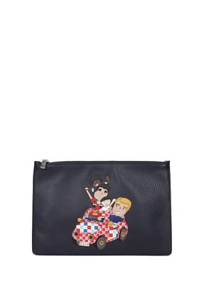 """Dolce&Gabbana Clutches """" patch d&g family """" Men Leather Blue"""