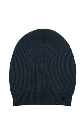 Armani Emporio Hats Men Wool Blue Dark Blue