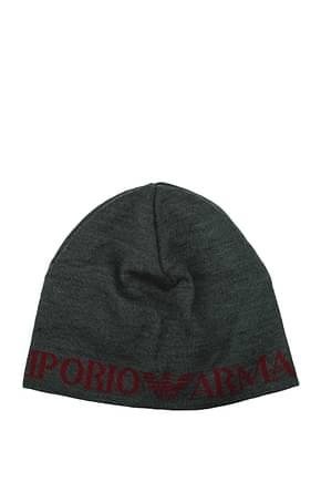 Armani Emporio Hats Men Cotton Gray Red