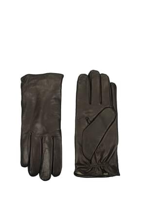 Armani Emporio Gloves Men Leather Brown