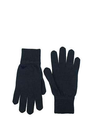 Armani Emporio Gloves Men Wool Blue Dark Blue