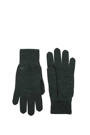 Armani Emporio Gloves Men Wool Gray Charcoal