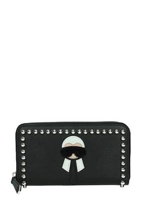 Fendi Wallets karl Women Leather Black