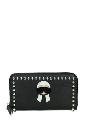 Fendi Wallets karl Women Leather Black