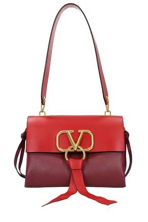 Valentino Garavani Shoulder bags Women Leather Red Wine