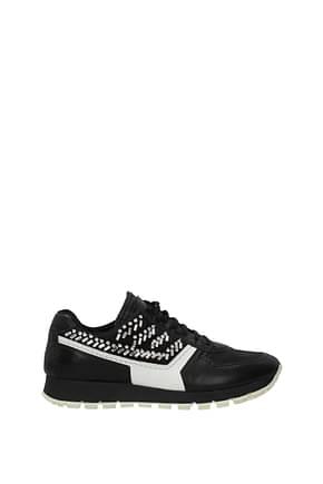 Prada Sneakers Women Leather Black White