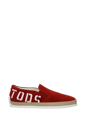 Tod's Slip On Men Suede Red