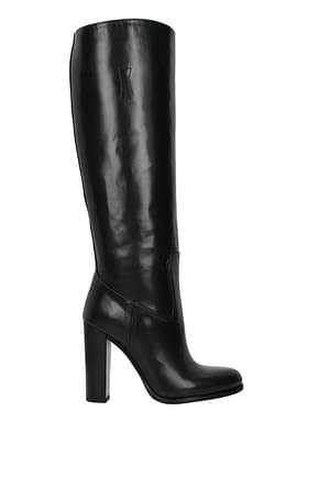 Prada Boots Women Leather Black