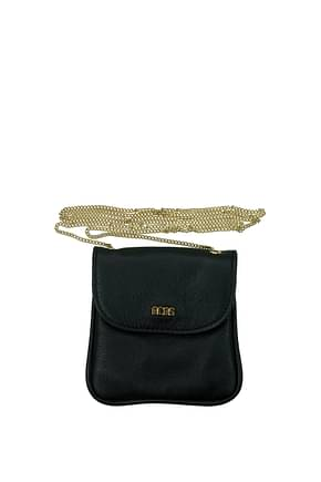GCDS Coin Purses Women Leather Black