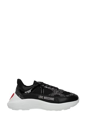 Love Moschino Sneakers Women Fabric  Black Silver