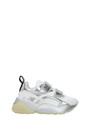 Stella McCartney Sneakers Donna Eco Pelle Argento Bianco
