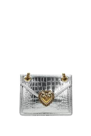 Dolce&Gabbana Crossbody Bag devotion Women Leather Silver