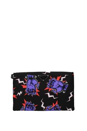 Prada Clutches Men Fabric  Black Violet