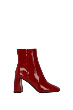 Prada Ankle boots Women Patent Leather Red