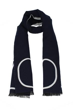 Valentino Scarves Men Wool Blue White
