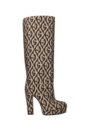 Gucci Boots Women Fabric  Beige