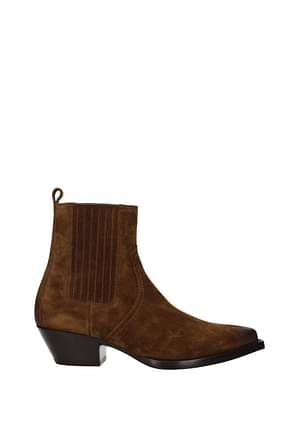 Saint Laurent Ankle Boot Men Suede Brown