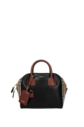 Burberry Handbags Women Leather Beige Black