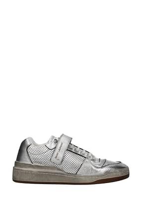 Saint Laurent Sneakers Uomo Pelle Argento