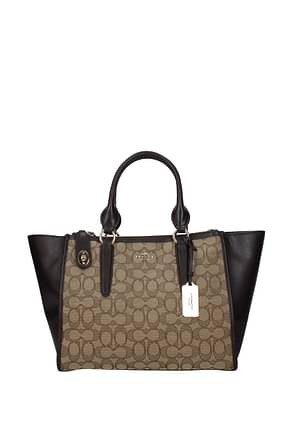 Coach Handbags sig crosby carryall Women Leather Beige Brown