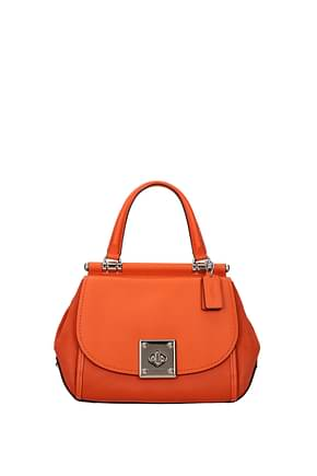Coach Handbags Women Leather Orange