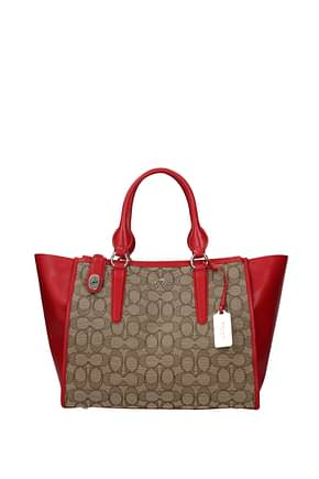 Coach Handbags sig crosby carryall Women Leather Beige Red
