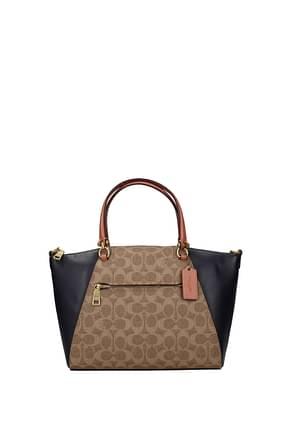 Coach Handbags Women Leather Beige Blue