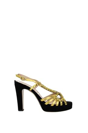Gucci Sandals Women Leather Gold