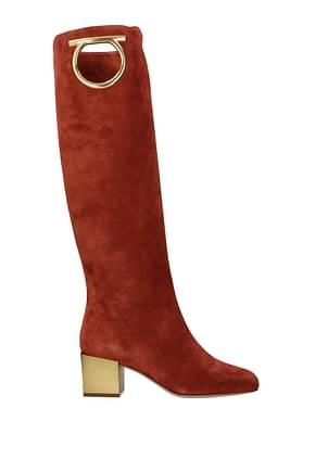 Salvatore Ferragamo Boots avio Women Suede Orange