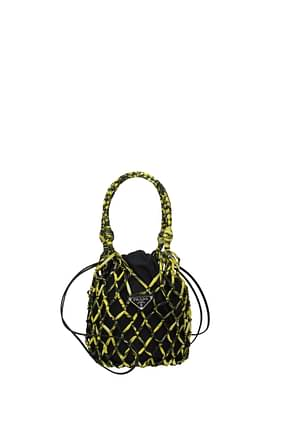 Prada Handbags Women Fabric  Black Yellow