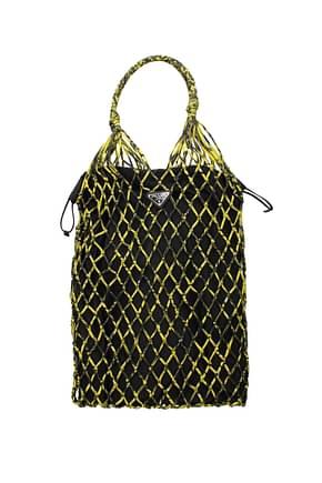 Prada Shoulder bags Women Fabric  Black Yellow